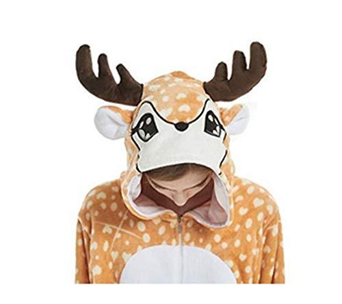 FMDD Kinder Cosplay Pyjamas Onesie Einhorn Kostüm Kinder Einteilige Kigurumi Nachtwäsche (Elch, 140/Höhe 136-145 cm) (Lustige Cartoon Kostüm)