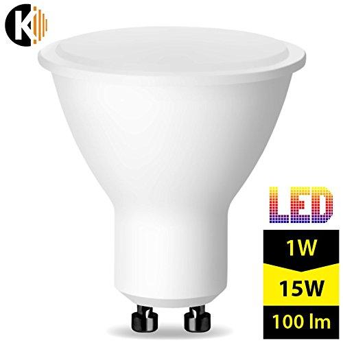 Kwazar Leuchte Leuchtmittel LED SMD Lampe 1W - 100lm (Ersetz 15W) GU10 230V Warmweiss 120° Abstrahlwinkel