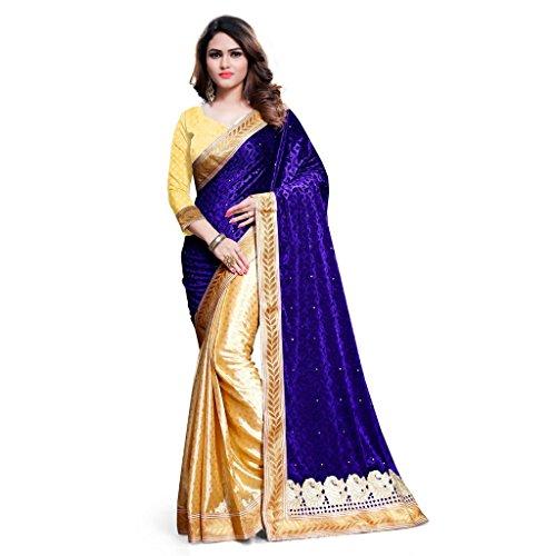 KAVVYA FASHION Women's Velvet Saree With Blouse Piece (Kavvyavlb06_Beige & Blue)