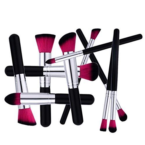MagiDeal Set de 10Pcs Pinceaux de Maquillage Brosse de Fond de Teint Crème Lèvres Fard à Paupières Kabuki Blush Contour - Noir argent, taille unique