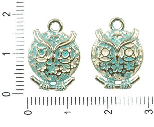 4pcs Antik-Silber-Ton-Türkis-Blau Patina Waschen, Große Eule Vogel Tier Anhänger Charms Bohemian Metal Ergebnisse 13mm x 19mm