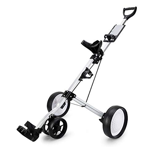WWcarr 4-Rad Golf Push Cart, Klappgolfwagen, Weiß Gummi -