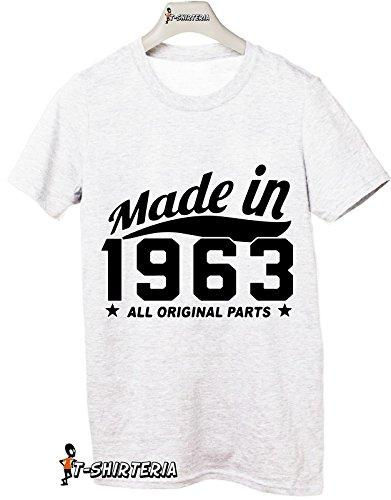 Tshirt Made in 1963 - idea regalo per compleanno - Tutte le taglie by tshirteria Bianco