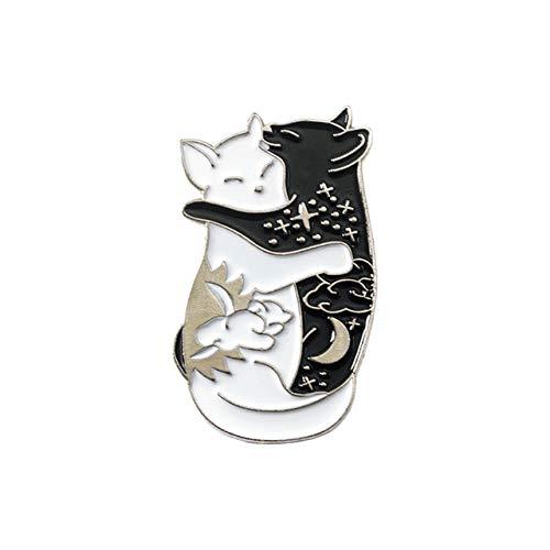 KDSANSO Tiere Pins Abzeichen, Cartoon Brosche Emaille Banner Revers Button Pin Schmuck Frauen Kreatives Geschenk Kleidung Taschen Ornament Retro Broschen - Doppel Katze (Silber