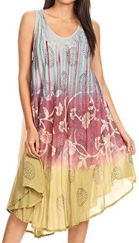 Sakkas 17102 Marina Dip gefärbte Blumenbatik Kurzarm Kleid/Cover Up - Stahl Blau - OS (Stahl Blau Kleid)