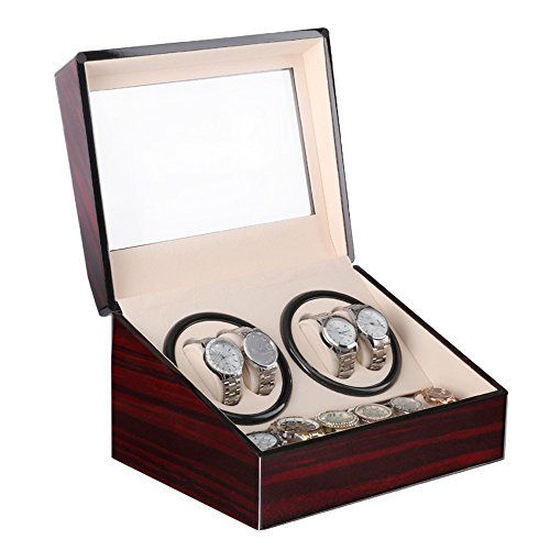 Uten watch winder Scatola orologio a carica automatica in legno per orologi da polso (Marrone 4+6)