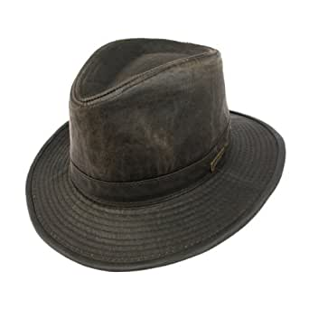 Indiana Jones Weathered Cotton Fedora Dark Brown Medium