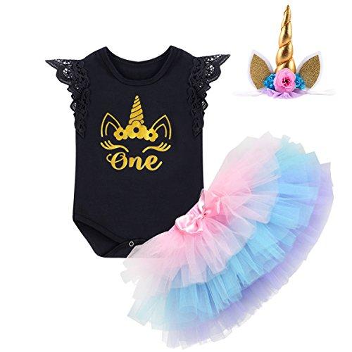 Baby Mädchen 1. Geburtstag Outfits Einhorn Geburtstag Kostüm für Fotografie Kleinkinder Prinzessin Strampler Body Regenbogen Tütü Rock Blumenstirnband/Einhorn Stirnband 3tlg Bekleidungssets 6-12M