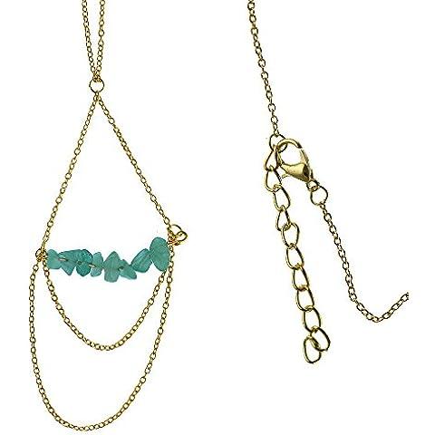 Ottone catena golden fine pendente catena Jade verde pietre infilate 61-66 cm