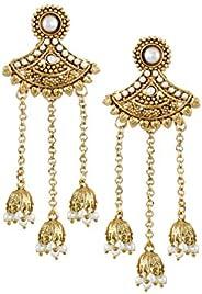 Zaveri Pearls Jhumki Earrings for Women (Golden) (ZPFK6329)