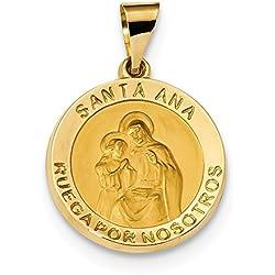 Hermoso oro amarillo 14 K 14 K pulido & satén hueco español San Ana medalla colgante viene con un regalo de joyería gratis