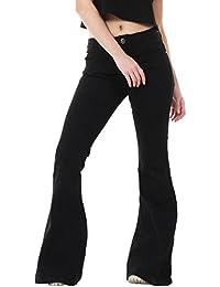 Glamour Outfitters Femme Jean Flare Coupe Large et Evasée - Noir
