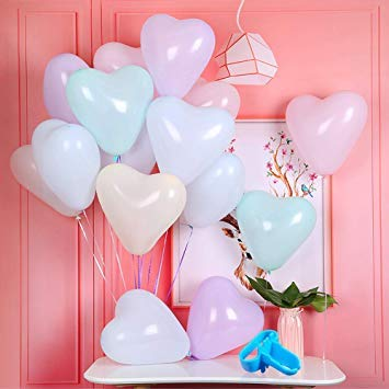Jiaxingo 202Pcs Herz Pastell Luftballons Macaron Herz Latex Luftballons Ballonpumpe/Inflator für Geburtstag Hochzeit Engagement Valentinstag Jubiläum Party Dekorationen-12 Zoll