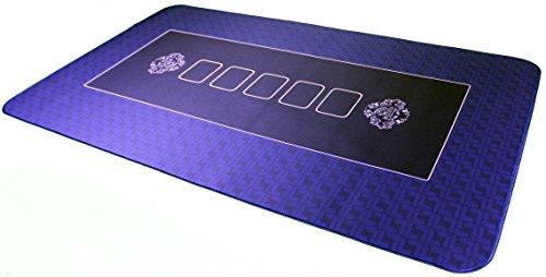 Bullets Playing Cards Profi Pokermatte blau in 100 x 60cm eigenen Pokertisch - Deluxe Pokertuch - Pokerteppich - Pokertischauflage