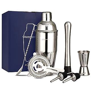 Manhattan 750ml Cocktail Shaker Set rostfreier Edelstahl Cocktail-Kit mit Metall-Muddler, Hawthorne-Sieb, Messstab, Ausgießer, Löffel & Rezeptheft, Geschenkverpackung