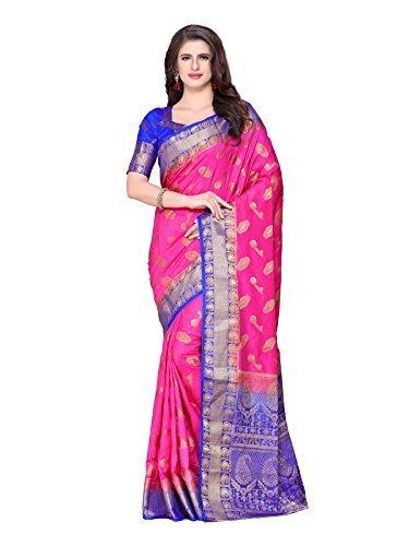 Color Silk Saree (MIMOSA Kanjivaram Style Art Silk Saree Color: Pink (4212-297-2D-DPINK-RBL))