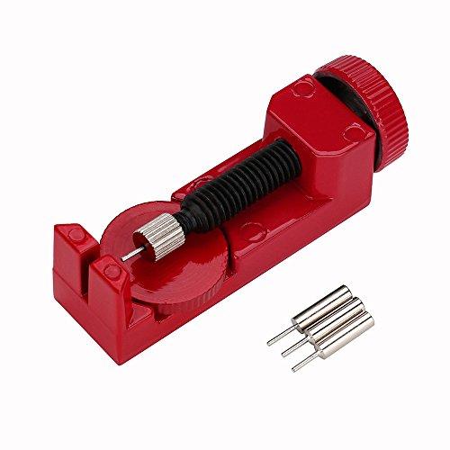 Colorful Uhrmacherwerkzeug, Uhrenarmband Strap Kettenbolzen Remover Reparatursatz Werkzeug für Uhrmacher mit 3 Extra Pins (Rot)