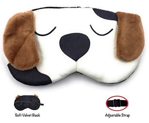 Cute Dog Eye Shade Cartoon Blindfold Eyes Cover Sleeping Travel Rest Patch Blinder Relax, Complete black-out Design, snooze, slumber, hibernate ~ Super Soft & Comfortable For Proper Sleep (White Dog)