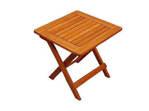 SAM Möbel Outlet Beistelltisch Kaffee, Garten-Möbel aus Akazie-Holz massiv, kleiner Garten-Tisch 46x46 cm, für Balkon Terrasse Garten, Hartholz Klapptisch in braun