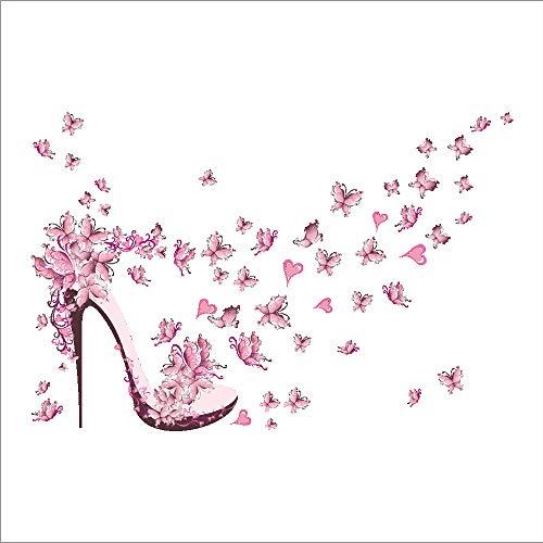 Wandaufkleber Rosa High Heels Schmetterling PVC Aufkleber entfernbares Wandgemälde des romantischen Wasserdicht Wandtattoo Wandgemälde Wohnzimmer Decor 45 * 60cm ()