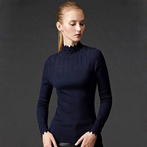 Good dress Damen Pullover Sets von Semi-Hohen Kragen Pullover Slim All-Match-Primer-Pullover , Navy blau , Einheitsgröße