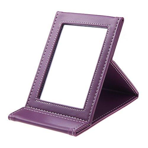 Anself miroir de maquillage cosmétique portable pliable multifonctionnel pour voyage (violet)