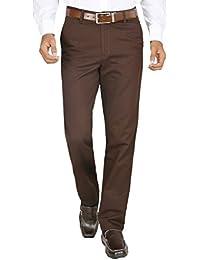 Modo Men's Trouser Regular Fit Dobby,Dark Brown 100% Cotton Formal Trouser For Men