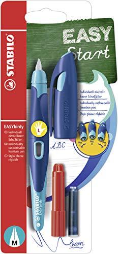 Stylo plume gaucher - STABILO EASYbirdy - Stylo ergonomique rechargeable - Bleu/turquoise - Avec clé de réglage