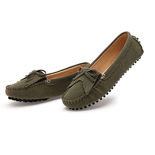 ... Oriskey Damen Mokassin Bootsschuhe Wildleder Loafers Schuhe Flache  Fahren Halbschuhe Slippers Armeegrün ...