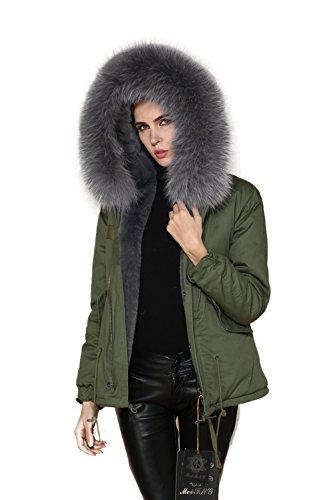 Lea Marie Damen Parka XXL Kragen aus 100% ECHTPELZ ECHTFELL Jacke Mantel KURZ Khaki 9 Farben (XXL, Grau.) (Canada Goose Grau)