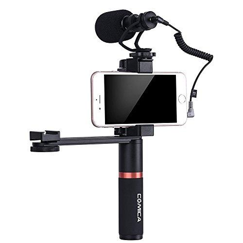 Comica Smartphone Video Kit CVM-VM10-K4 Filmemacher Griff Griff mit Shotgun Video Mikrofon Video Rig für iPhone X 8Plus 8 7Plus 7 Samsung Huawei etc. (Iphone Mikrofon Für Video)