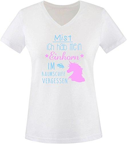 ezyshirt Mist ich habe mein Einhorn im Raumschiff vergessen Damen V-Neck T-Shirt Weiss/Hellbl/Rosa