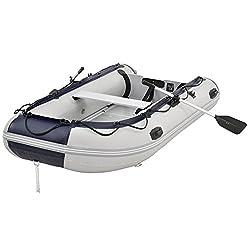 ArtSport Schlauchboot grau mit Aluboden aufblasbar 3,20 m | 4 Personen | Paddelboot inkl. Paddel, Pumpe & Tasche | Sportboot Angelboot