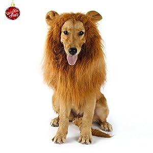 YKS Crinière Lion Camouflé avec 2 Oreilles Imités pour Moyen Grand Chien Costume Perruque Jouet Marrant Amusant pour Golden Retriever Animal Domestique pour Noël Halloween Festival Brune