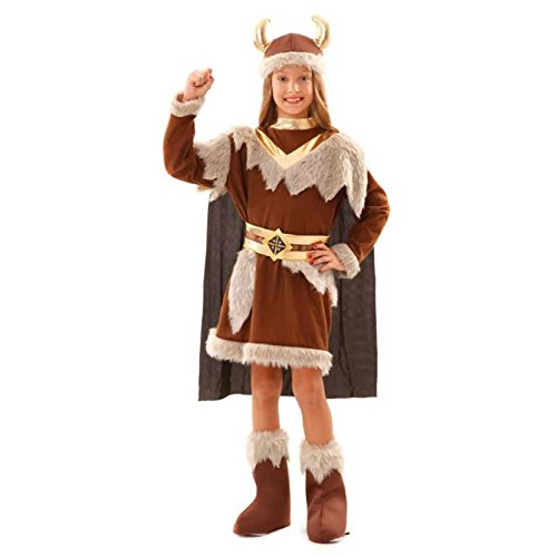 (Kostüm Wikinger Mädchen Oda Kleid Helm Stulpen Fasching Seefahrerin (7-9 Jahre))