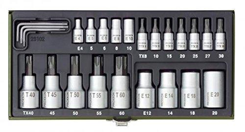 """PROXXON 23102 TORX Nüsse Steckschlüssel Spezialsatz, 24 teilig mit Antrieb 6,3mm (1/4"""") + 12,5mm (1/2"""")"""