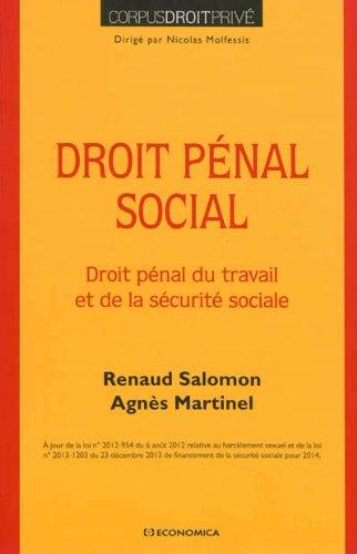 Droit pénal social : Droit pénal du travail et de la sécurité sociale par Renaud Salomon, Agnès Martinel