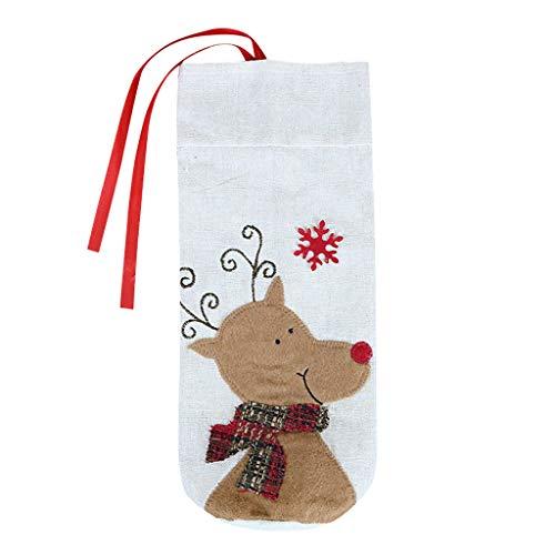 Gaddrt Christmas Weinflaschenset Weihnachten Rotwein-Flaschen-Tasche Cartoon Weihnachtsdekoration Wein Geschenktüte (C)