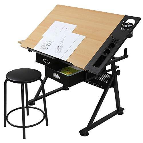 LARRY SHELL Zeichnen Tisch Tisch verstellbare Höhe, mit Hocker und Zwei Schubladen, für Zeichnung, fine Art, Kursarbeit, Malerei und Verschiedene Handwerk verwendet (Hocker Zeichnung Verstellbare)