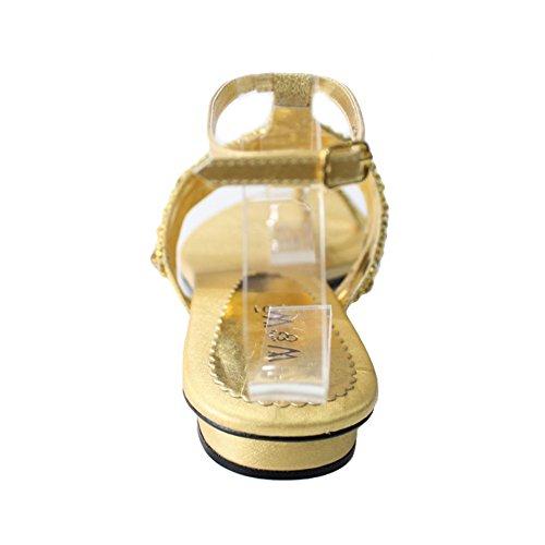 W & W femmes Mesdames Soirée antidérapant sur le confort léger Soirée Plat Sandales Chaussures de Mariage avec strass Taille (Lumia) Doré