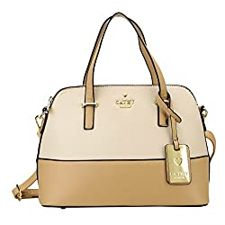 Cathy London Womens Handbag, Material- Synthetic Leather, Colour- Brown/Beige