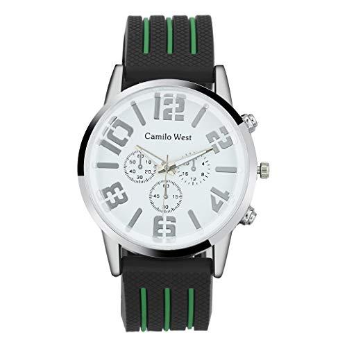 Armband für Herren/Skxinn Männer Silikon Uhrenarmband,Mode Outdoor Sportuhr,Drei-Augen-Zifferblatt Herrenuhr Ausverkauf(Grün)