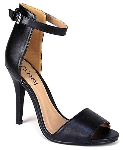 Ladies High Stiletto Heel Open Toe Back Ankle Strap Faux Suede Sandals Shoes 3-8 PU Noir