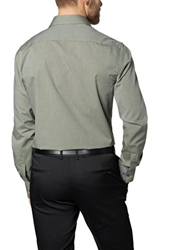 Eterna Long Sleeve Shirt Modern Fit Fil à Fil Uni Verde