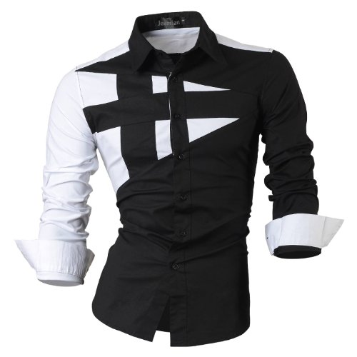 jeansian Herren Freizeit Hemden Shirt Tops Mode Langarmshirts Slim Fit 8397 Black