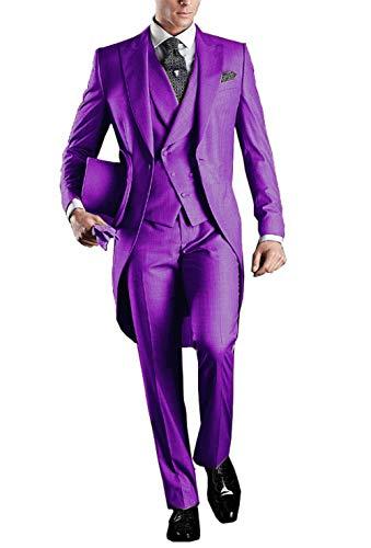 YYI Herren 3 Stück Frack Anzug Set Business Tuxedo für Männer Jacke, Weste, Anzughose -