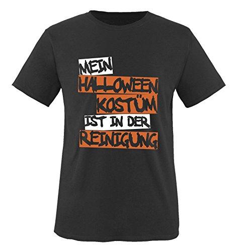 Comedy Shirts - MEIN HALLOWEEN KOSTÜM IST IN DER REINIGUNG TEXT -Herren T-Shirt in Schwarz / Weiss-Orange Gr. XXL