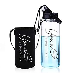 Sunkey Trinkflasche Glas 1,5/2 Liter Wasserflasche Sport mit Neoprenhülle Edelstahl Deckel Bpa Frei