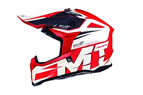 MT - Casco Cross FALCON WESTON A1 Rojo/Blanco XL 61-62