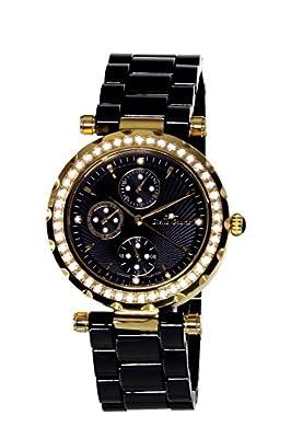 Stella Maris STM15R8 - Reloj pulsera para mujer analogico de cuarzo esfera negra brazalete de ceramica negro con diamantes y elementos de Swarovski de Stella Maris